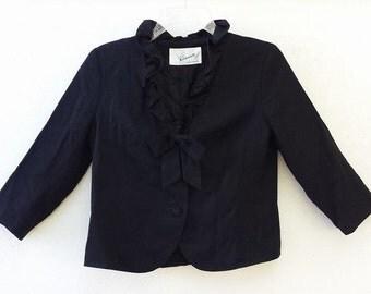 Vintage 50's BLACK RUFFLE BOW Ladylike Crop Dress Jacket S