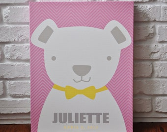 Bowtie Teddy Pink - Personalized Canvas Wall Art