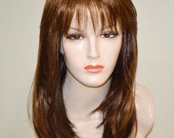 Two toned wig / auburn on top with dark brown bottom straight wig