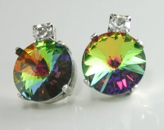 Mulitcolor earrings, Crystal earrings, Rainbow crystal earrings, rainbow earrings, Swarovski crystal earrings,rivoli earrings,Vitrail Medium