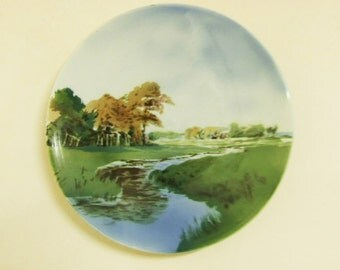 Beautiful 1930s hand painted wall plate