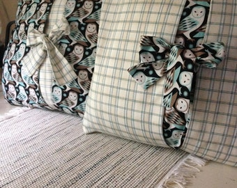 "Pillow Covers with bow,  Set of 2  16"" Owl/Plaid/ Black/Teal/Cream/brown....with bow and peek a boo panel.."