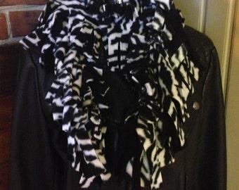 """Scarf, 72"""" Tied Fleece/Animal Zebra print"""