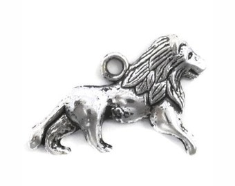 12 Silver Lion Charm Single Sided 25x16mm by TIJC - SP0919