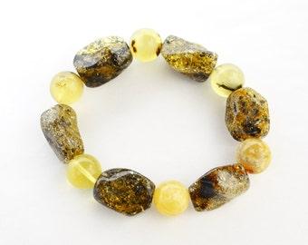 Baltic amber bracelet, green amber, round 13 mm amber beads, lemon amber, gift for Her 1618