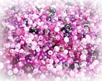 Seed Bead Mix - Summer Fruits Pink Purple