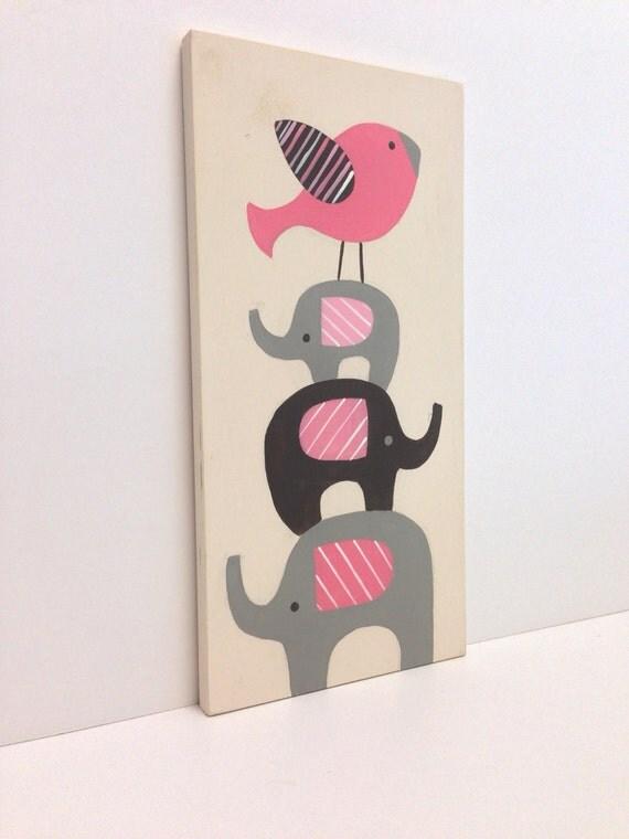 Nursery Wood Wall Decor : Baby elephant nursery wood wall art pink and gray