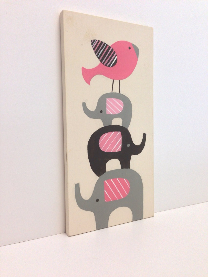 Baby elephant nursery wood wall art pink and gray nursery for Pink wall art