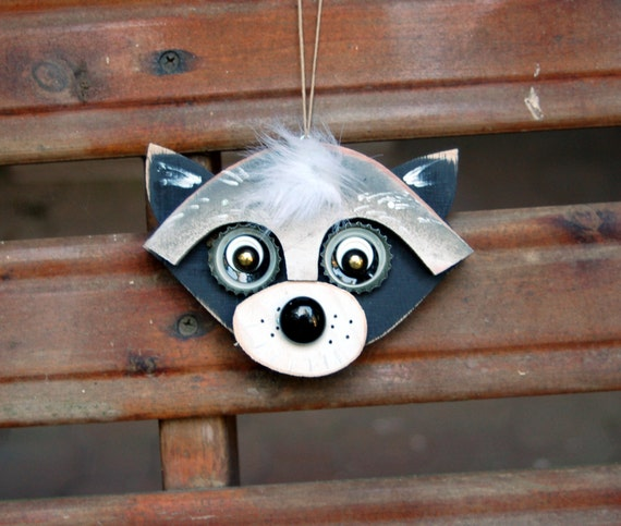 Raccoon Ornament, Recycled Hand Made  raccoon folk art upcycled raccoon art