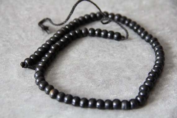 "Black Horn 8x6mm roundel beads,  18"" long full strand"