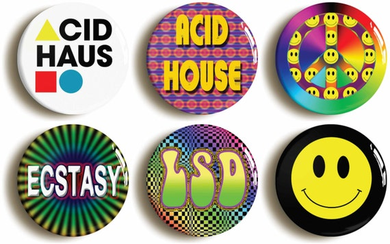 Set of six acid house rave badges buttons pins by for Acid house rave