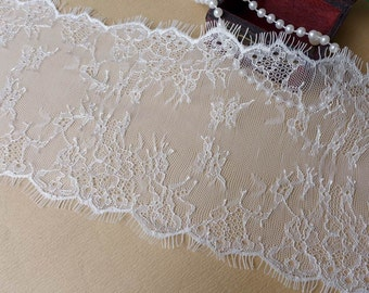 White Wedding Lace Trim, Chantilly Lace Fabric, Bridal Shawl Lace, Lingerie, Altered Couture