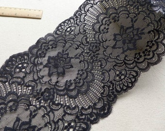 WIDE Black Wedding Stretch Lace Floral Elastic Lace Trim for Bridal, Lingerie, Headbands Lace