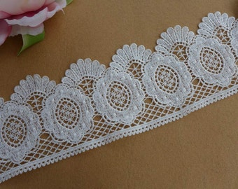 Venice off white lace, wedding bridal lace trim, embroidery scalloped lace, off white sewing lace