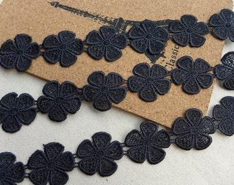 Black Venise Lace Flower Trim Applique for Bridal, Gift Wrap, Applique, Sewing, Costume Design