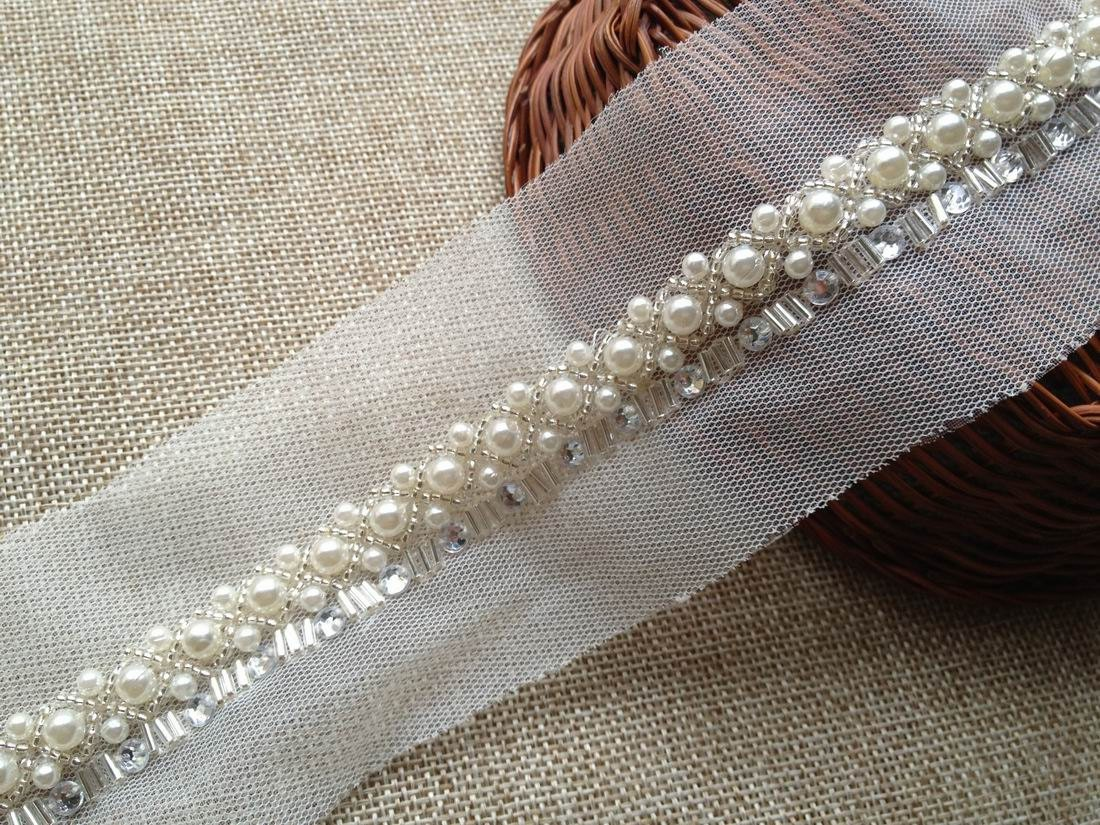 one yard wedding pearl trim beaded lace trim for bridal sash