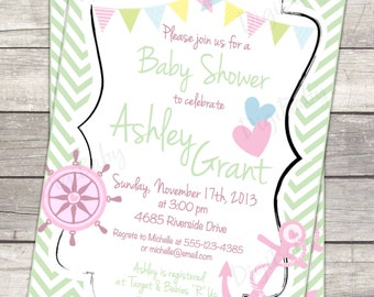 Nautical anchor baby shower invitation, chevron, pink, green 5x7 printable digital files