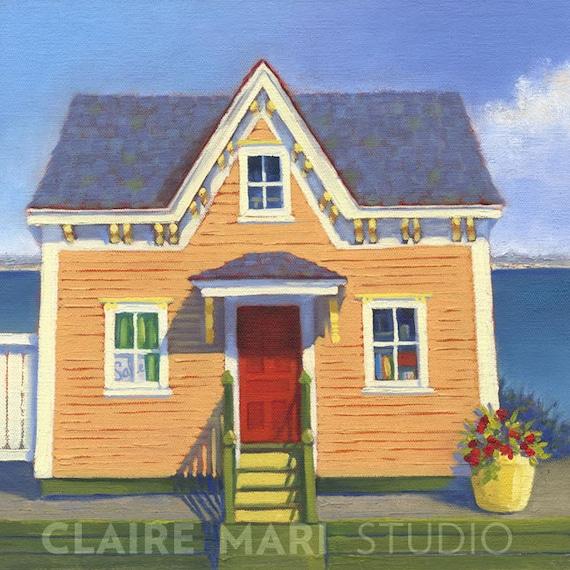 Block island coastal cottage seaside art print victorian for Block island cottage