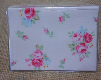 Shabby cottage roses floral debit business card holder mini wallet card case Flour Sugar Fabric