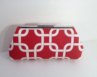 Red Geometric Link Cotton Clutch Purse, Red White Blue Clutch