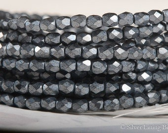 Charcoal (50) - Czech Glass Bead - 4mm - Firepolished Faceted Round