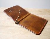 Leather Money / Cash Fold Wallet - A Spring Bar Money Clip - A Slim Mens Wallet Handmade in England