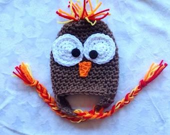 Baby Boy Crochet Turkey Hat. Newborn Thanksgiving Outfit.