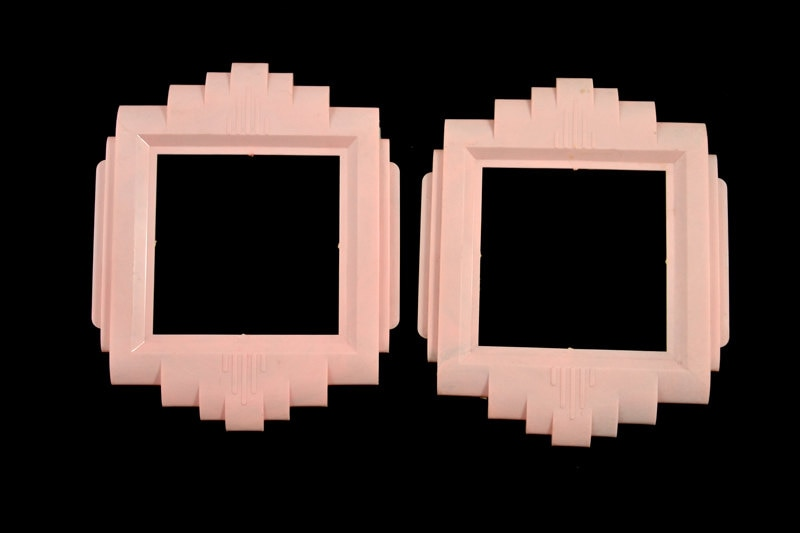 Art deco 1930s nos pink double switch plate covers multiples - Art deco switch plate covers ...