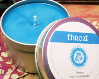 THROAT CHAKRA CANDLE - 5th Blue Throat Chakra - Unblock Your Voice and Share Your Truth - Helps with Communication Speaking Writing Skills