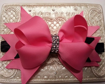 """5"""" pink stocked bow, girl bow, bling bling hair bow, pink bow"""