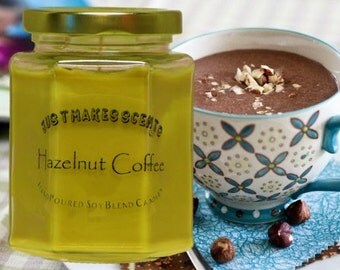 Hazelnut Coffee Candle - Blended Soy Candle - Free Shipping on Orders of 6 or More (Mix & Match) - Coffee Scented Candle - Just Makes Scents