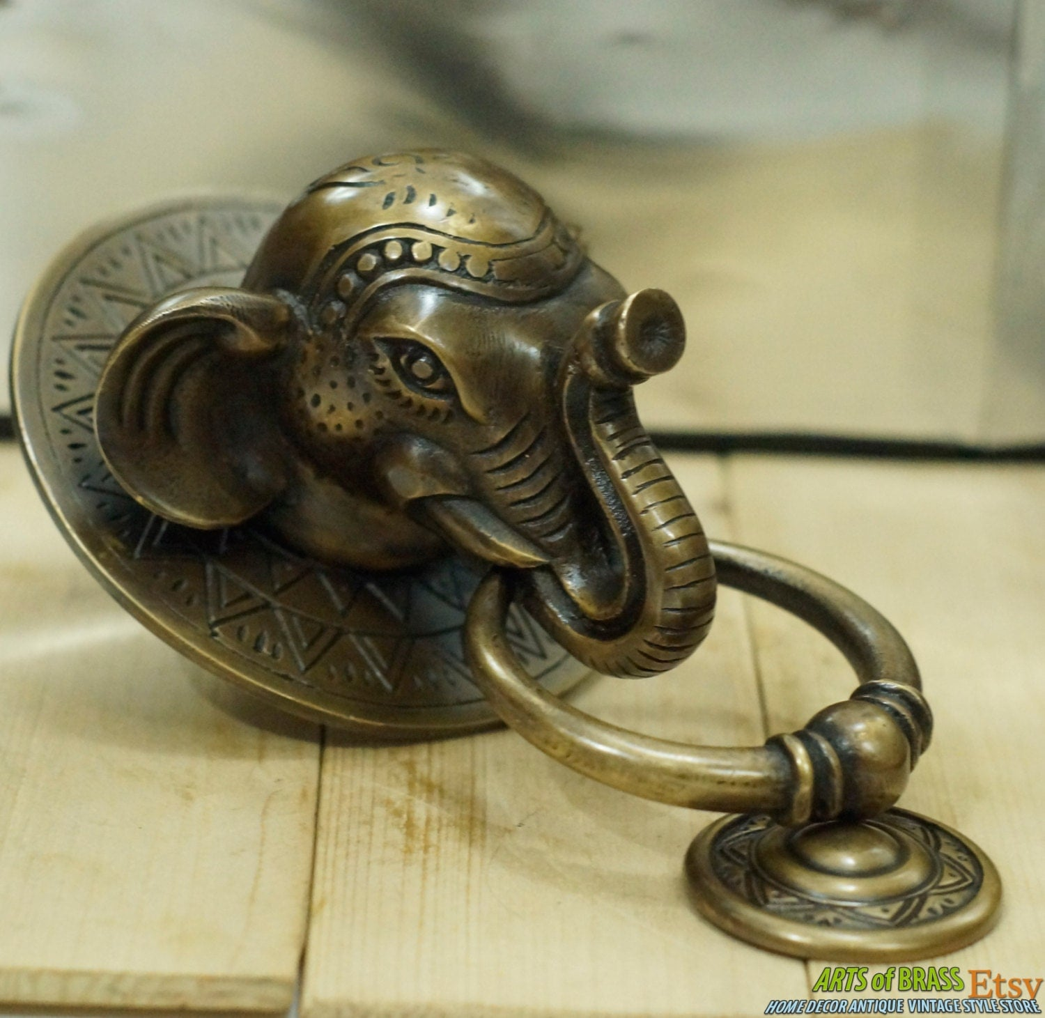 Antique large big elephant thai head door knocker cast solid - Brass elephant door knocker ...