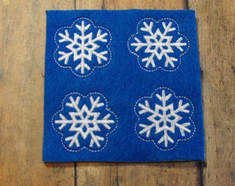 Blue Snowflake felties, feltie, machine embroidered, felt applique, hair bow center, felt planner clip, paper clip, felt badge reel