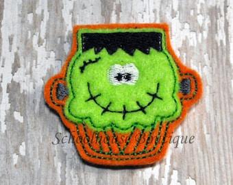 Frankenstein (Frankie) Cupcake Halloween felties - Machine embroidered - felt applique - felt embellishments - hairbow