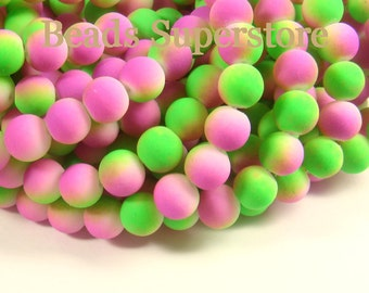 CLOSEOUT 8 mm Two Tone Fluorescent Neon Green Purple Round Bead - 30 pcs