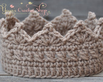 Mocha Baby Crochet Crown,  Baby Accessories, Newborn Size, Infant Boy crown , prince toddlers