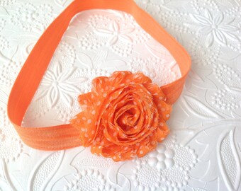 Shabby chic flower headband. polka dots orange headband, baby headband, flower headband. Shabby chic clip. Girls headband. baby orange.