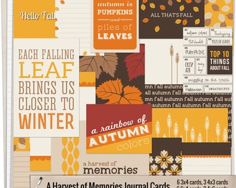 A Harvest of Memories Journal Cards - Printable journaling cards for Project Life and digital scrapbooking by Mira Designs