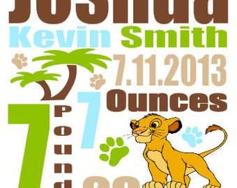Personalized Baby Birth Annoucement Lion King Disney Simba Stat Wall Art Girl Boy Baby Decor