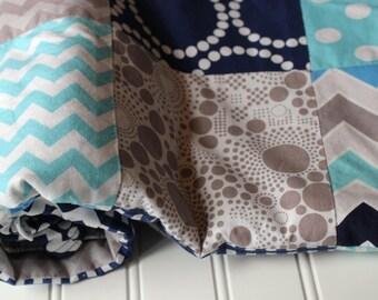 Boy Baby Quilt, Patchwork Minky Baby Quilt, Nursery Decor - Minky Baby Boy Blanket - Navy,  Aqua, Gray - Dots, Chevrons - Minky Blanket