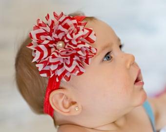 Baby headbands, baby girl headbands, Red and white chevron flower headband, christmas headbands, newborn headbands, infant headbands