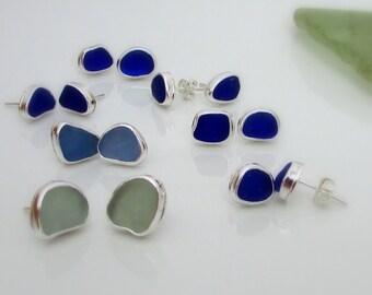 Sea Glass Earrings. Sea glass stud earrings. Bezel sea glass. Stud earrings. Silver stud Earrings. Maine jewelry. Sea Glass Bezel earrings