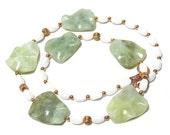 Jade and Snow Quartz Gemstone Necklace