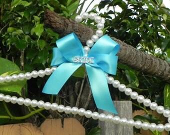 Pearl Bridal Hanger with Satin Bow - Wedding Dress Hanger