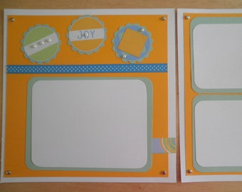 """Premade Scrapbook pages = 2 pages 8"""" x 8"""" Joy  Any Occasion"""