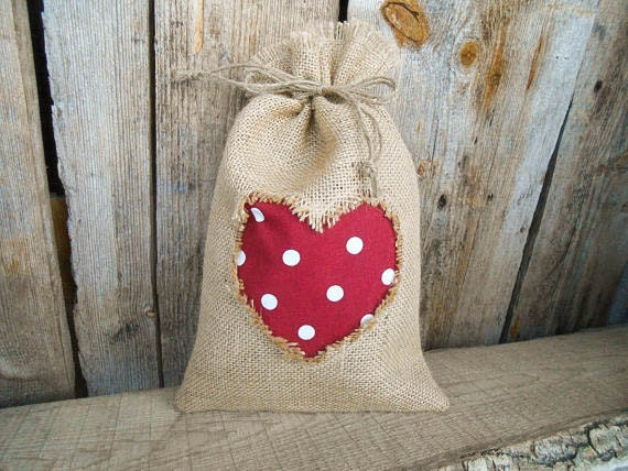 Valentines day decor wedding favor bags burlap by vivicreative for Burlap sack decor