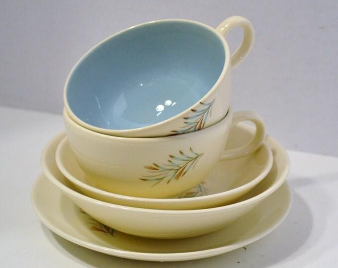 Vintage Fortune Cup Saucer Bowls Homer Laughlin TS&T Aqua White Floral 5 Pieces PanchosPorch