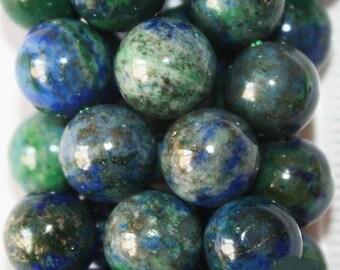 "Genuine Azurite Malachite Beads - Round 8 mm Gemstone Beads - Full Strand 15 1/2"", 48 beads, A Quality"