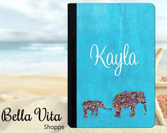 Personalized iPad Case, Personalized iPad Cover, Personalized iPad Mini Case, iPad Air, Mini,  Elephants, Indian Ethnic