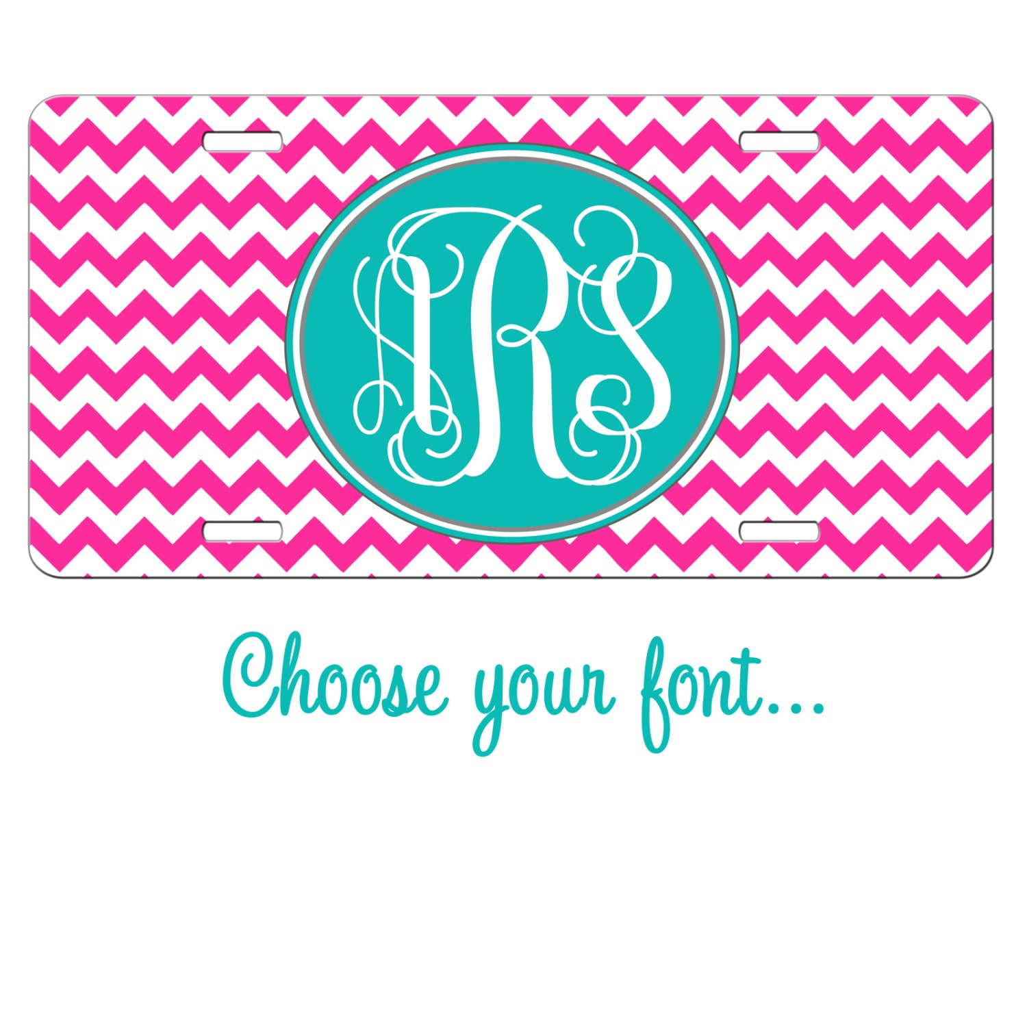 Custom Front License Plate Vanity Car Tag Chevron Monogram